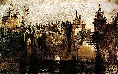 Hugo - Town with tumbledown bridge, 1847